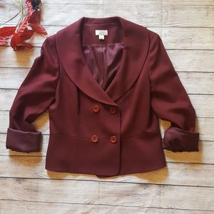 Ann Taylor LOFT Burgundy Blazer Size 10 wool